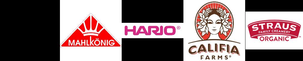 Slayer logo, Mahlkonig logo, hario logo, califia farms logo, straus family creamery logo.